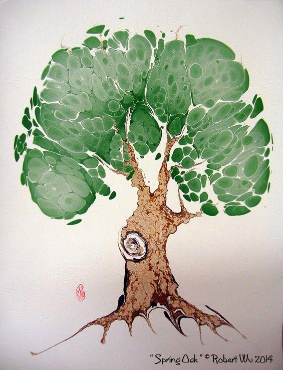 """Kanadalı sanatçı Robert Wu'nun """"ilkbaharda meşe"""" isimli ebru eseri, 2014.  #robertwu #ebru #marbling #springoak #art #artwork #fineart #artist"""