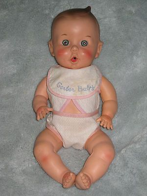 """1956 Gerber Baby Doll, 11"""" tall, doll is marked: Gerber Baby Gerber Product Co on head. Z"""