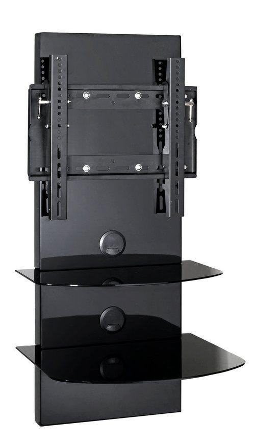 Mobiletto porta TV a parete o a Terra per televisori fino a 32 pollici 2 ripiani in vetro temprato nero, finitura lucida, supporto e passacavi inclusi