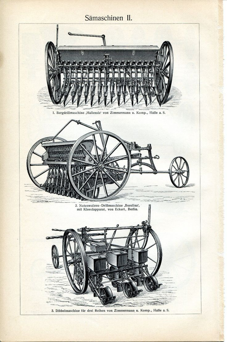 ca 1890 OLD AGRICULTURAL MACHINERY Seed drill Antique Engraving Print | eBay