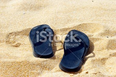 Jandals and Golden Sand, Summer Royalty Free Stock Photo