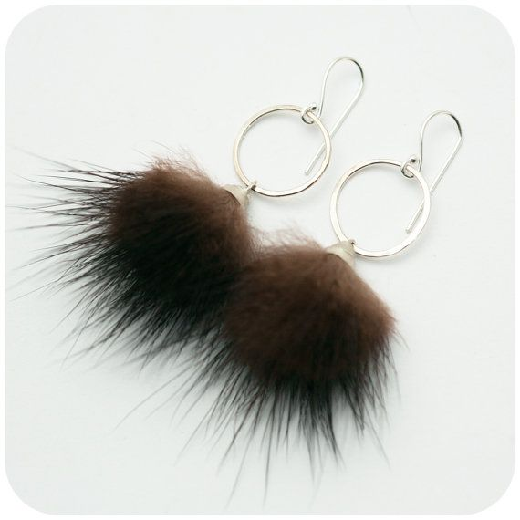 Furry Pom Pom - Sterling Silver and Recycled Mink Fur Earrings