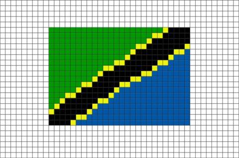 Flag of Tanzania Pixel Art
