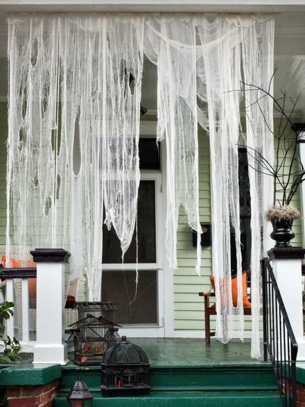 zerrissen gardinen Halloween Dekoration weiß