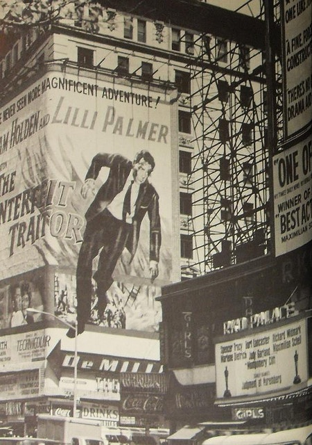 1960s NEW YORK CITY William Holden THE COUNTERFEIT TRAITOR 1962 vintage billboards Times Square NYC