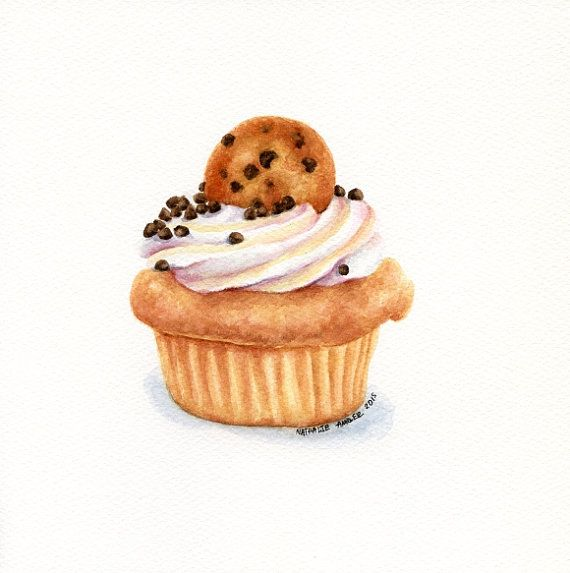 Chocolate chip cookie cupcake ORIGINAL by ForestArtStudio on Etsy