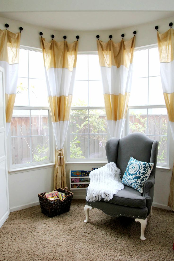 Bay windows and corner curtain rods apps directories - These Curtains Would Look Good In The Den The Sassy Pepper The Upholstered Chair Diy Bay Window