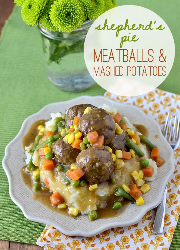 Shepherds Pie Meatballs and Mashed Potatoes is especially fun for St. Patricks Day! | iowagirleats.com
