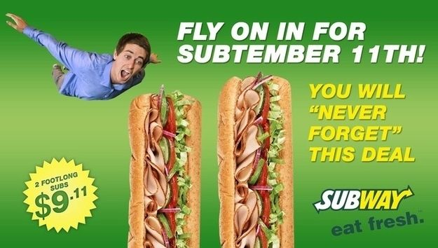 The Onion published a story about a fake September 11 promotion at Subway last week. | A Subway Store Accepted The Onion's Fake 9/11 Coupon