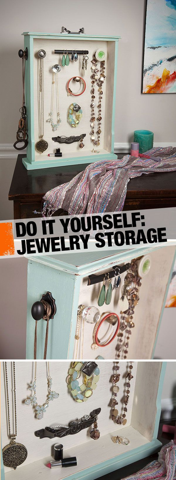 Maximize space and give your jewelry a stylish storage solution. Click through for the tutorial for this DIY jewelry organizer!