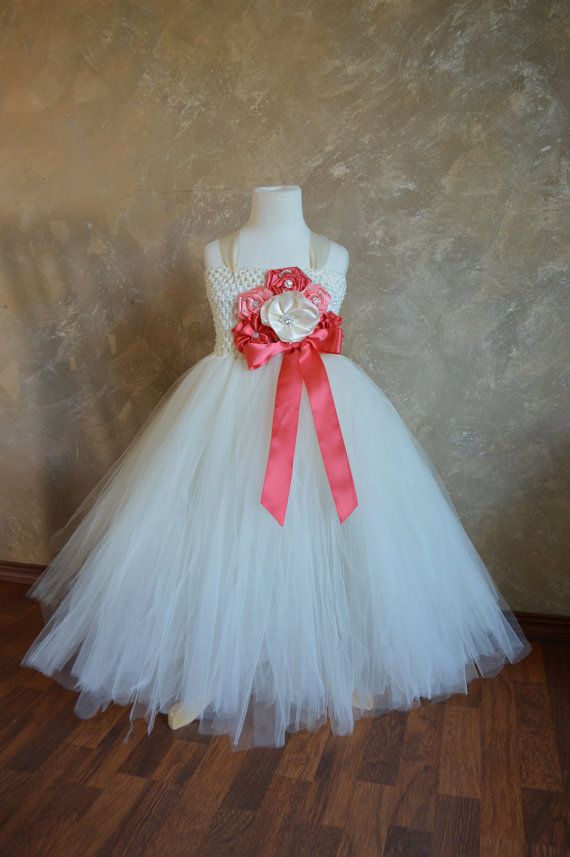 Hey, I found this really awesome Etsy listing at https://www.etsy.com/listing/162320004/ivory-and-coral-flower-girl-tutu-dress