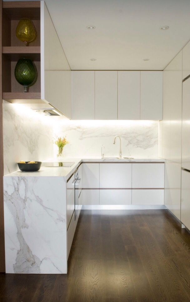 Modern kitchen Inspiration, Casearstone Calacatta marble waterfall benchtop - Found on Pinterest
