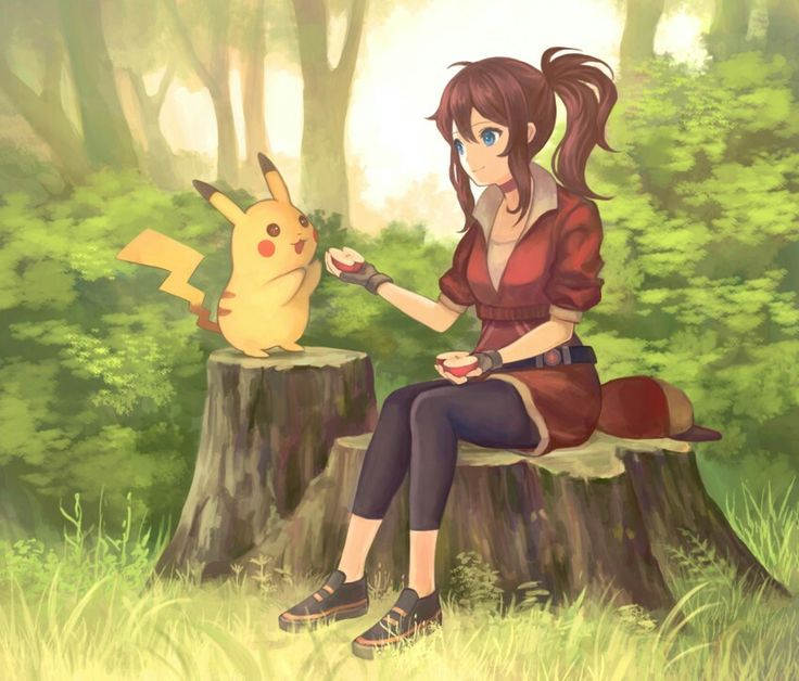 ♥ Girl... Female Protagonist... Pokémon... Pokémon GO!... Pikachu... Outside... Trees... Anime ♥