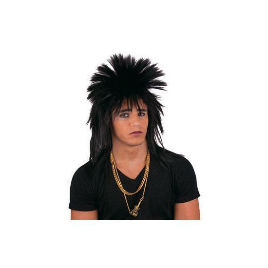 Zwarte punk pruik met spikes  Zwarte punker pruik voor heren. Met deze stoere zwarte punker pruik voor heren maak je je jaren 80 outfit helemaal af!  EUR 9.95  Meer informatie