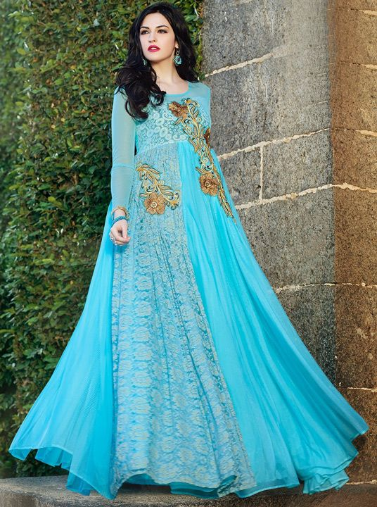 USD 40.71 Sky Blue Soft Net Designer Party Wear Gown 43538