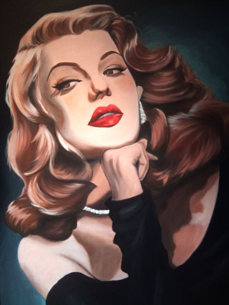 This acrylic painting is another Hollywood Actress from long ago named Rita Hayworth..