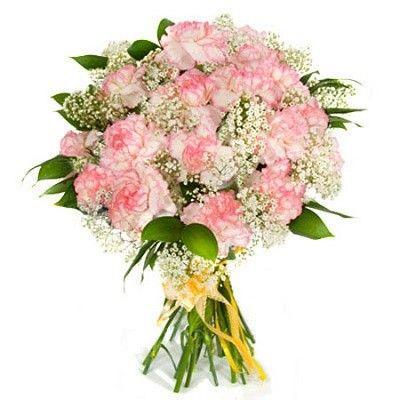 Букет состоит из 25 розовых гвоздик, рускуса и гипсофилы  http://www.dostavka-tsvetov.com/shop/238/desc/malyshka