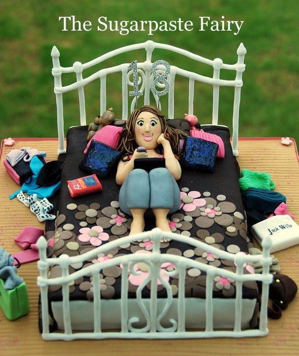 Girl in a bed cake