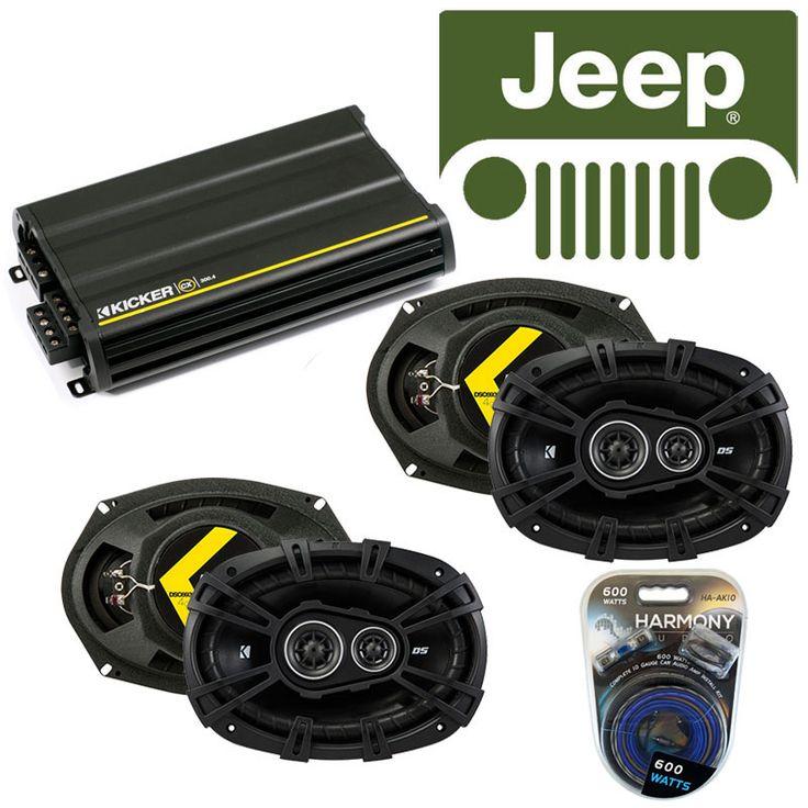 Jeep Patriot 2007-2014 OEM Speaker Replacement Kicker (2) DSC693 & CX300.4 Amp