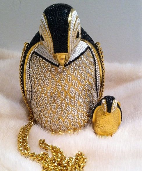 Judith Leiber Penguin Minaudière And Pill Box