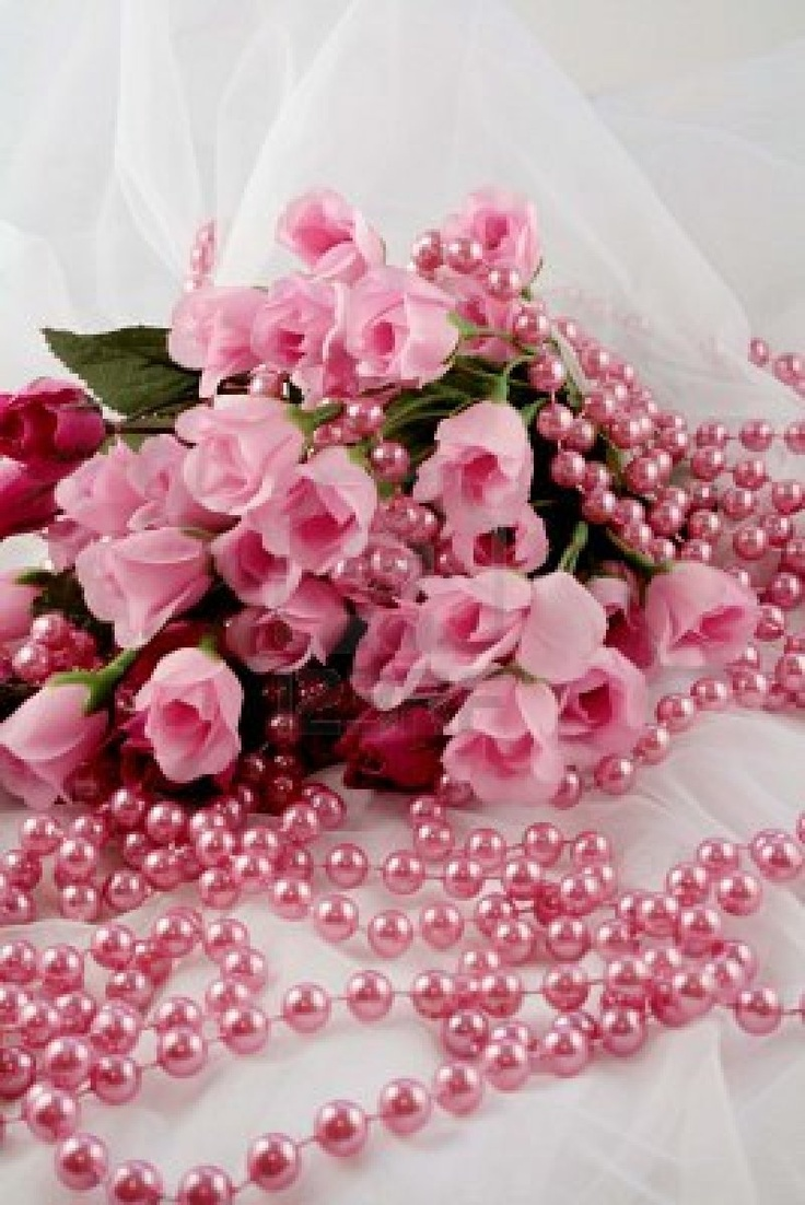 Image detail for -Pink Roses And Beads On White Lace Royalty Free Stock Photo, Pictures ...