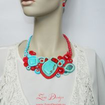 Soutache necklace - turquoise and red necklace