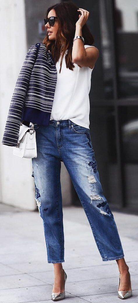 #fall #street #trends   Stripes + White + Denim
