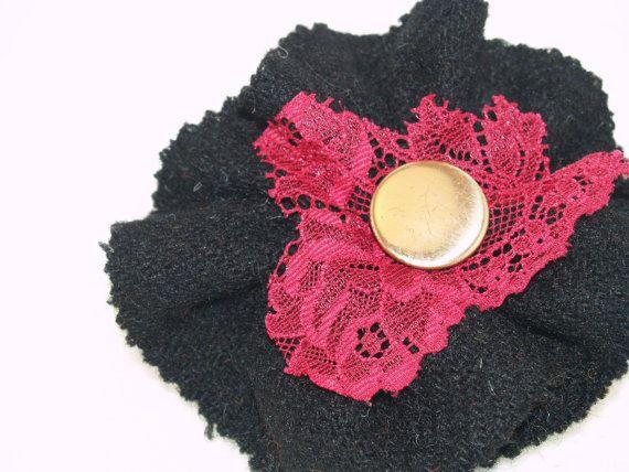 Black Genuine Harris Tweed Brooch with Pink by GoldenpennyCrafts