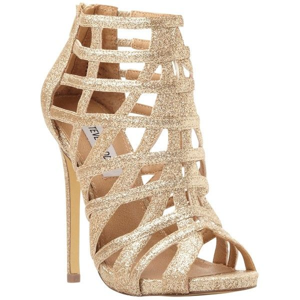 Steve Madden Marquee Caged High Heel Sandal, Gold found on Polyvore featuring shoes, sandals, heels, gold, caged heel sandals, heels stilettos, gold glitter sandals, caged sandals and gold sandals