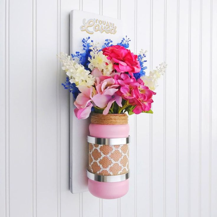Chic Pink Mason Jar Loved Wall Plaque Sconce - This Chic Pink Mason Jar Loved Wall Plaque Sconce comes with an elegantly painted and decorated affixed jar.