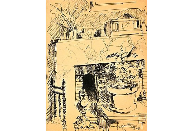 The Mantelpiece 1945 On Pen And Ink Drawing Of The Fireplace Mantel In A Cozy