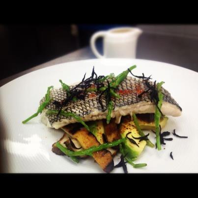great spring menu by Chef John Johnson! Local Black Sea Bass/ steamed over Yuzu Dashi/ avocado mushroom and sea beans