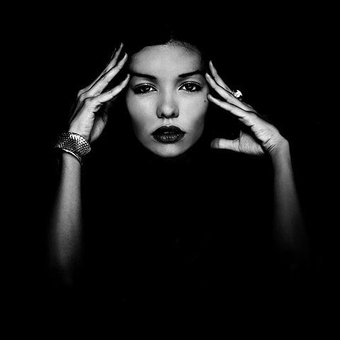 black and white, portrait, hands, face
