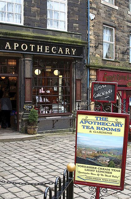 Breakfast on the main street after a brisk crisp spring walk in Haworth, West Yorkshire,UK