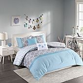 Intelligent Design Clara Reversible 5-Piece Full/Queen Comforter Set in Blue