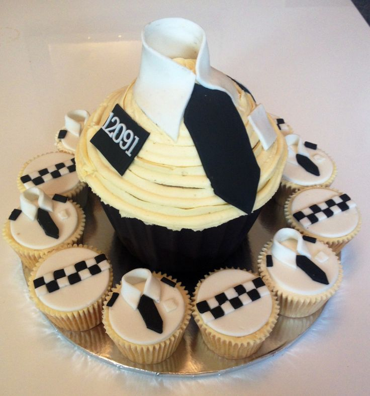Giant police cupcake and matching cupcakes                              …