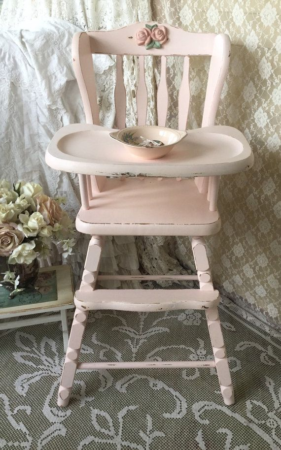 Shabby pink vintage high chair jenny lind baby by fannypippin