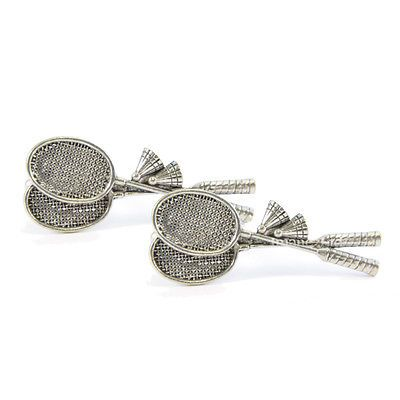 Badminton raquets #english #pewter cufflinks in gift box #shuttlecock tsbcs10 new,  View more on the LINK: http://www.zeppy.io/product/gb/2/251501736885/