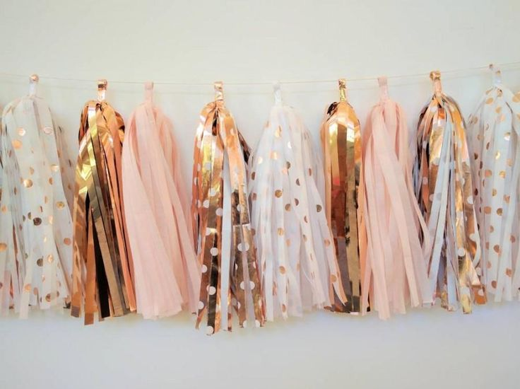 Rose Gold Wedding Garland - Rose Gold and Blush tassel garland - Rose Gold Bridal Decoration - Rose gold polkadots