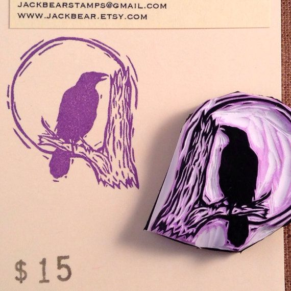 Raven Stamp  Hand Carved Rubber Stamp by jackbear on Etsy, $15.00