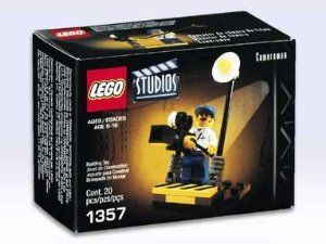 Lego Studios Building Set Movie Cameraman (1357) by LEGO. $24.90. Includes Camaraman Mini-Fig, Movie Camera, Boom, etc; Terrific Accessory Set in the Lego Studios Series; Lego Studios Building Set #1357; Retired & HTF - Ages 6 & UP!; Movie Cameraman Set - Contains 20 Pieces. Lego Studios Building Set #1357 that includes 20 Pieces total, including a Cameraman Minifig, Movie Camera, Boom, etc. An Accessory set in the Lego Studios series that is Retired & HTF and released in 2001.