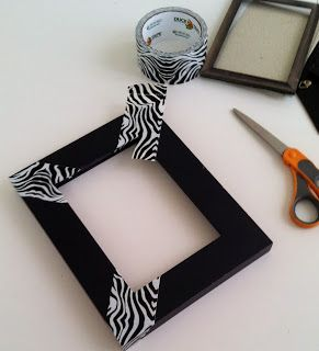 DIY Frame Makeover with Duct Tape Zebra Print