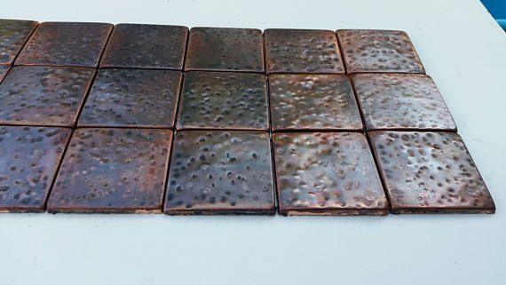Hammered copper hand hammered metal tiles SET OF 18 Copper