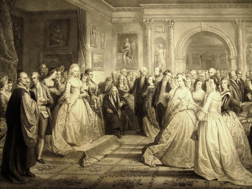 """Lady Washington's reception, or the republican court. I don't remember where I read/heard/learned this, but, apparently, following the revolutionary war, the new American government didn't know exactly how to be taken seriously by the more traditional (read royal) european ambassadors and dignitaries. Martha Washington tried to mimic the """"royal courts"""" by holding receptions for dignitaries and other fancy Americans in order to make the new American king-less government t..."""
