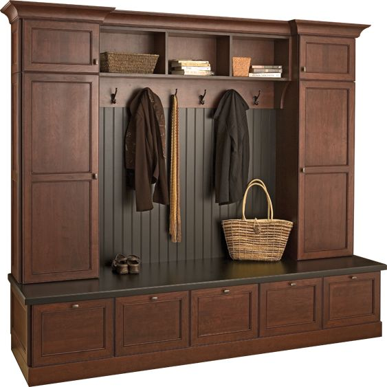 Mudroom: Love this locker system with the bench seating, the deep drawers and most of the mess hidden.