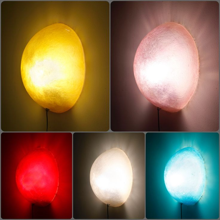 Full Moon wall lamps  Handmade fiberglass wall lamps  Fiberglass material is robust and very lightweight  Available in five colours: Dark Yellow Gold / Light Lilac / Total Blue / Natural White / Wine Red  They can be hang on the wall by using a small nail  They come complete with a cord, a light switch and an E14 bulb holder.