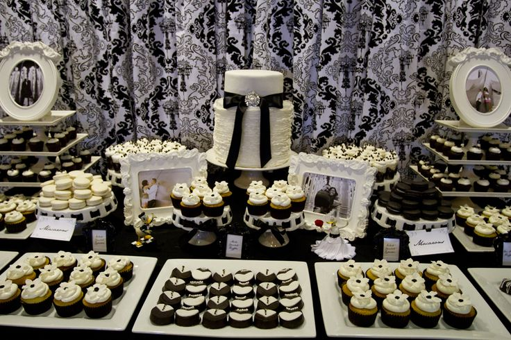 Black and White Dessert Table for a Black and White Affair!