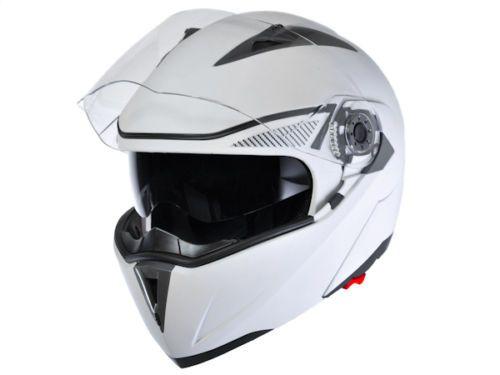 New Flat Matte White Modular Flip Up Dual Visor Dot Motorcycle Helmet s M L XL | eBay