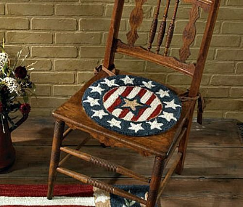 New Primitive Country Americana AMERICAN STAR FLAG Hooked Rug Chair Seat Pad  #ParkDesigns