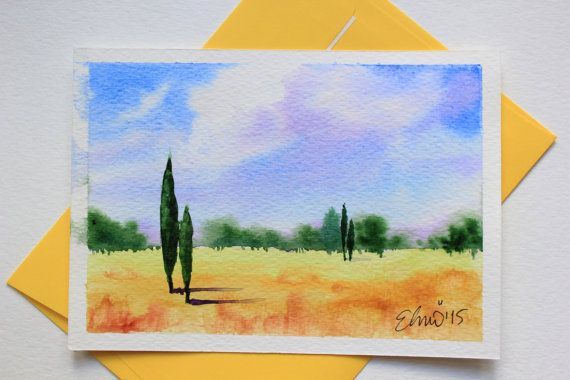 Lovely simple summer trees, evergreens in this unique original watercolor postcard handpainted with best quality watercolors. by UNIQUEPOSTCARDS
